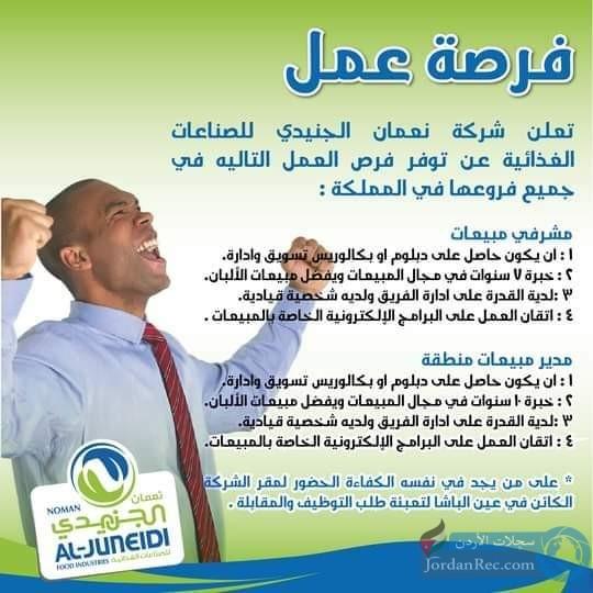 مطلوب مشرفي مبيعات لدى شركة نعمان الجنيدي للصناعات الغذائية في جميع فروعها في المملكة